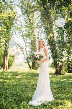 Bride Bridal Dress Gown Boho Blossom Summer Wedding Ideas http://www.catlaneweddings.com/