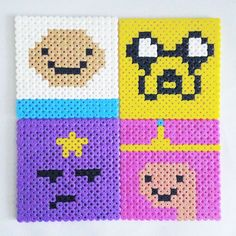 Adventure Time coasters perler beads by pixelempire