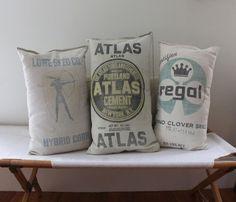 Feed Grains Sack, Floursack Pillows, Cushions Pillows, Flour Sack, Feed Sack, Feedsack Quilts, Pillows Idea, Pillows Talk, French Knots