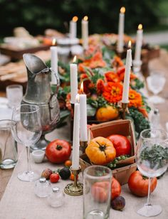 Autumn table - have to say, I'm starting to love natural oranges and reds for tables decs...