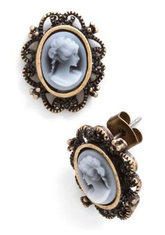 Like a Profile Earrings - Black, White, Print, French / Victorian, Gold, Good, 30s, Top Rated