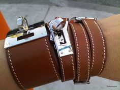 Hermes Kelly Dog, Hermes Kelly Double Tour, Hermes Cap Cod with Double Tour Strap All in Barenia Leather. Would love them in GHW! Bracelet Hermès, Hermes Bracelet, Hermes Jewelry, Leather Jewelry, Leather Cuffs, Leather Pants, Leather Bracelets, Hermes Armband, Bling Bling