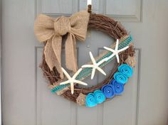 burlap wreath with blue | 18 Nautical Burlap and Felt Starfish Wreath by ThePolkaDottedRoom