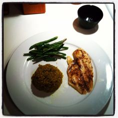 Blackened cumin citron glazed tilapia, green curry quinoa, and French beans