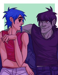 """""""Based on Hewlett's art, done while I was wondering what Murdoc could be thinking while looking at Stu like that """" 2d And Murdoc, Gorillaz Fan Art, Russel Hobbs, Monkeys Band, Drawing Prompt, Damon Albarn, Beautiful Voice, Fantasy Makeup, Animation"""