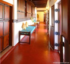 Traditional red oxide flooring...love the rich colour