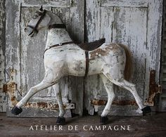 import of french antiques for home and garden, Mirror, Garden Elements, Chandeliers, Painted Furniture Antique Rocking Horse, Vintage Horse, Rocking Horses, Equestrian Decor, Wooden Horse, Painted Pony, Cow Art, Rustic Art, Horse Sculpture