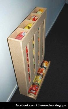 DIY RV Food Storage Can Dispenser: Keep the RV Pantry Organized I love this idea for storing canned food! Very efficient, keeps food rotated and takes up much less space than most storage shelving! I bet this could be made using old pallet boards too! Do It Yourself Furniture, Diy Furniture, Furniture Plans, Furniture Storage, System Furniture, Outdoor Furniture, Pallet Projects, Diy Projects, Project Ideas