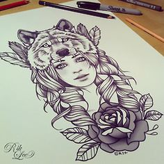 rik lee wolf headdress I would like this with a little less barbi and a fox instead Tattoo Girls, Trendy Tattoos, Tattoos For Women, Tattoo Studio, Wolf Girl Tattoos, Tattoo Wolf, Lioness Tattoo, Thai Tattoo, Tattoo Sketches