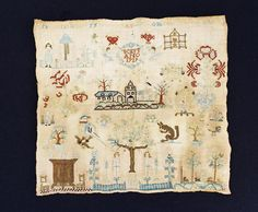 Antique English Sampler Silk thread on linen 1739
