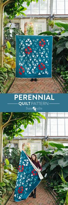 The Perennial quilt pattern from suzyquilts.com is made with just one block rotated and repeated. Once you master this single block, you've mastered the entire quilt pattern! Included with the patter are links to videos and blog posts that give you tips on cutting and sewing triangles. #modernquilts #quiltpattern #pinkquilt