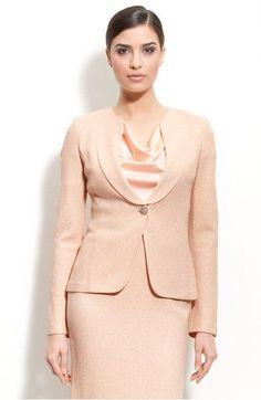 78b6a54c0601 St john couture evening knit pink sorbet shimmery jacket skirt tweed 00 02  pt