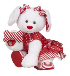 Sweet Stripes Merry Mint Pup - Build-A-Bear Workshop Cute Stuffed Animals, Build A Bear, Doll Face, Workshop, Plush, Merry, Building, Holiday, Christmas