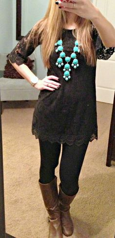 Great black on black look with a pop of turquoise! Especially love the lace top! - H Tunic, Illy Couture Necklace, Black leggings and Cathy Jean Boots