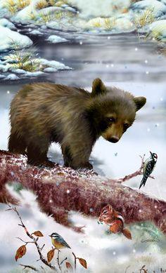 Bear Paintings, Wildlife Paintings, Wildlife Art, Large Animals, Animals And Pets, Cute Animals, Wildlife Quilts, Cute Animal Clipart, Bear Drawing