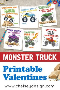 "MONSTER TRUCK VALENTINES!   I get it. You want SIMPLE. CUTE. and FAST!  If you have a kid that loves monster trucks, these are the cards for you!   ""Valentine, you CRUSH the competition"" ""Valentine, keep crushing it!"" ""Valentine, I like the way you roll"" ""Valentine, fire it up!"" ""You ROCK, Valentine!"" ""WHEEL you be my Valentine?""  #monstertrucks #printablevalentines Love Monster, You Rock, Be My Valentine, Competition, Monster Trucks, Rolls, Printables, Fire, Simple"