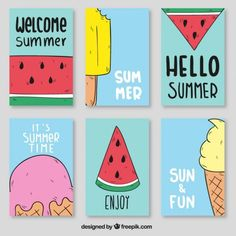 Watermeloen en ijs posters Gratis Vector