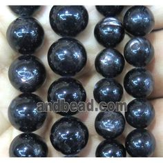Hypersthene beads, round (GMLB1466-8MM) approx 8mm dia