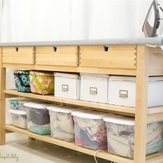 63 Ideas For Sewing Room Organizing Ikea Ironing Station Sewing Room Storage, Sewing Room Organization, Ikea Storage, Table Storage, Craft Storage, Storage Hacks, Diy Ironing Board, Sewing Room Furniture, Ikea Sewing Rooms