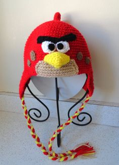 Items similar to Angry Bird Hat (Inspired) Hat with earflaps Hand crochet on Etsy Crochet For Kids, Hand Crochet, Crochet Hats, Baby Hats, Baby Knitting, Tassels, Infant, Pure Products, Trending Outfits