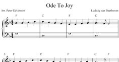 Easy piano solo arrangement of the melody Ode To Joy by Ludwig van Beethoven. Printable free sheet music notes for piano beginners.