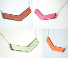 Wooden Chevron Necklaces. Painted. Gold-plated or Silver-plated chain. Color as shown. 18 inches long.     This over-sized wooden chevron necklace is painted in solid blindingly-neon orange, and then sanded for a subtly distressed look. TThe necklace is then oiled with organic skin-safe oil, and finished with an organic beeswax blend, to bring out the beauty of the exposed wood.