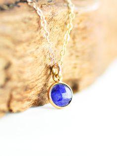 Kamaka necklace - genuine blue sapphire gold necklace, delicate gold necklace, sapphire necklace, september birthstone, maui, hawaii