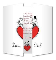 Einladungskarte Hochzeit Herzpaar (RFE-189)