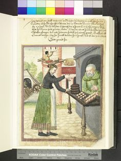 Girl at the Bakers, dated 1568 from Die Hausbucher der Nurnberger Zwolfbruderstiftungen Amb. Medieval Market, Medieval Life, Medieval Fashion, Medieval Manuscript, Illuminated Manuscript, Medieval Crafts, Medieval Furniture, Landsknecht, Renaissance Era