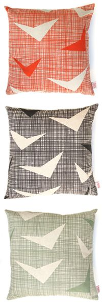 Skinny laMinx  cushion covers in the 'Airborne' design are available in the following colours from top to bottom in: - Strelizia - Tarmac - Sage