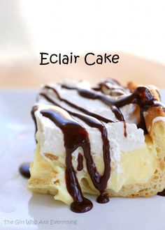 This Eclair Cake has a cream puff crust, vanilla cream cheese layer, whipped cream, and a chocolate drizzle.