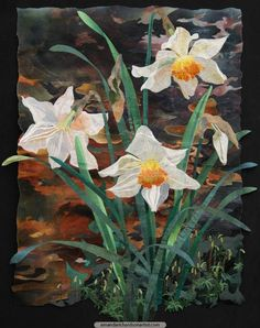 Continuing to create small textile collages of the spring flowers beginning to bloom around me, here is 'Narcissus beside Stream'.