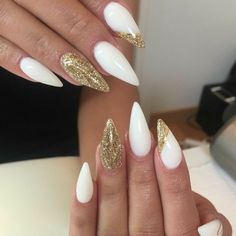 Stiletto Nails. White And Gold Nails. Acrylic Nails. Gel Nails.