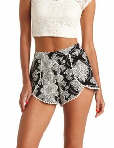 Printed Crochet Trim High-Waisted Dolphin Shorts: Charlotte Russe