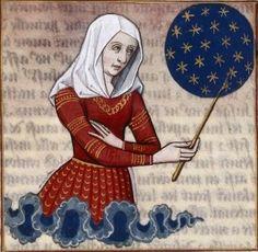 """Anicia Faltonia Proba (Faltonia Proba teaching the history of the world since the Creation through her """"Cento Vergilianus de laudibus Christi"""") -- BnF Français 599 fol. 83"""