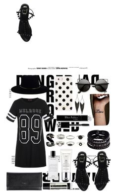 """black and white"" by flutterstyles on Polyvore featuring Ally Fashion, Zimmermann, Christian Dior, Valentino, Kate Spade, Estée Lauder, GUESS, Replay, Aesop and Agonist"