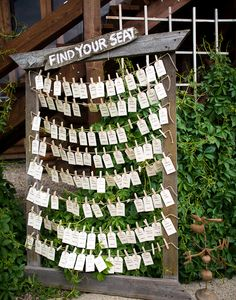 Clothespinned tags on twine are perfect for a rustic celebration.