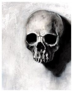 Found Series - skull black and white art print