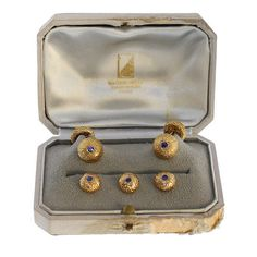Van Cleef & Arpels Sapphire Gold Buttons and Cufflinks   From a unique collection of vintage cufflinks at https://www.1stdibs.com/jewelry/cufflinks/cufflinks/