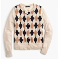 J.Crew Lightweight Wool Jackie Cardigan Sweater ($130) ❤ liked on Polyvore featuring tops, cardigans, pink cardigan, cardigan top, print top, short-sleeve cardigan and light weight cardigan