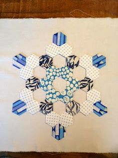 Hexie snowflake... whites on blue background, mini quilt for hallway maybe? To satisfy my hexie craving for the next few years...