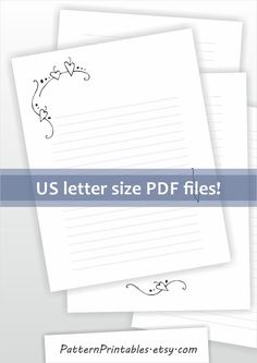 Lined Printable Letter Paper A Size Stationery Digital File