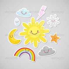 Weather Stickers #GraphicRiver Cute weather, set: sun, moon, star, cloud, snowflake, raindrop, lightning, rainbow. Zip file contains: - eps8, editable vector file. RGB - jpeg, size 4000×4000, 16MP. RGB Created: 26 November 13 Graphics Files Included: JPG Image #Vector EPS Layered: No Minimum Adobe CS Version: CS Tags astronomy #cartoon #characters #childrens #clip art #cloud #collection #colorful #education #funny #group #humor #illustration #kawaii #lightning #magnet #moon #rainbow…