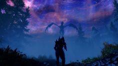 OMG dragon and he's for on daedric armor. Skyrim Gif, Tes Skyrim, Skyrim Dragon, Nerdy Wallpaper, Dragonborn Skyrim, Daedric Armor, Gothic Landscape, Scrolls Game, Dark Brotherhood