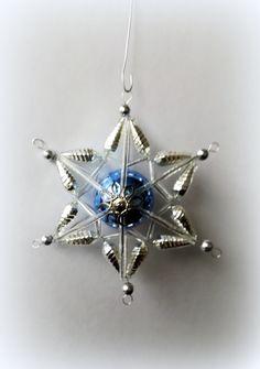 Vánoční+ozdoba+z+foukaných+perel+Hvězda+-+středová+perla+průměru+30+mm