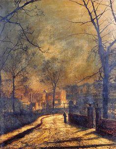 John Atkinson Grimshaw 'Autumn Scene, Leeds' 1874 Oil on Canvas by Plum leaves, via Flickr