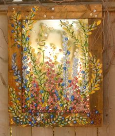 Old Windows repurposed to art, for indoor and out on Behance Recycled Decor, Repurposed, Stained Glass Art, Mosaic Glass, Mosaic Art, Old Mirrors, Old Windows, Vintage Windows, Window Art