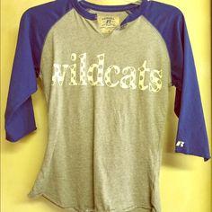 Wildcat quarter sleeve shirt Russell brand quarter sleeve shirt. Barley worn Tops Tees - Long Sleeve