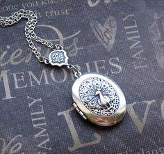 Silver Scent Locket Necklace - Enchanted Royal Peacock - By TheEnchantedLocket. $27.00, via Etsy.