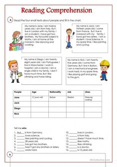 An activity to practice reading and comprehension. There are four small texts an… An activity to practice reading and comprehension. There are four small texts. English Worksheets For Kids, English Lessons For Kids, English Activities, English Lesson Plans, Vocabulary Activities, French Lessons, Spanish Lessons, Reading Skills, Teaching Reading